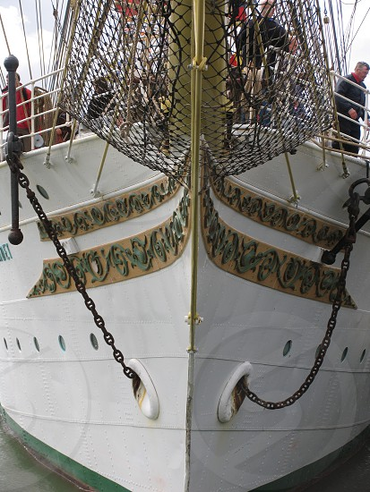 Bow of ship chain net ropes old ship photo