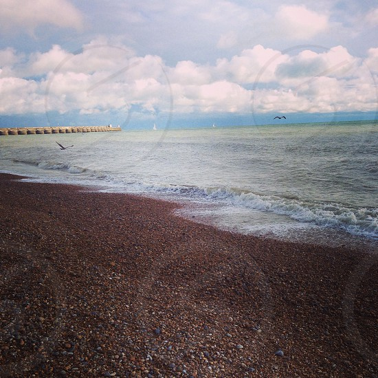 Brighton beach pebbles England photo