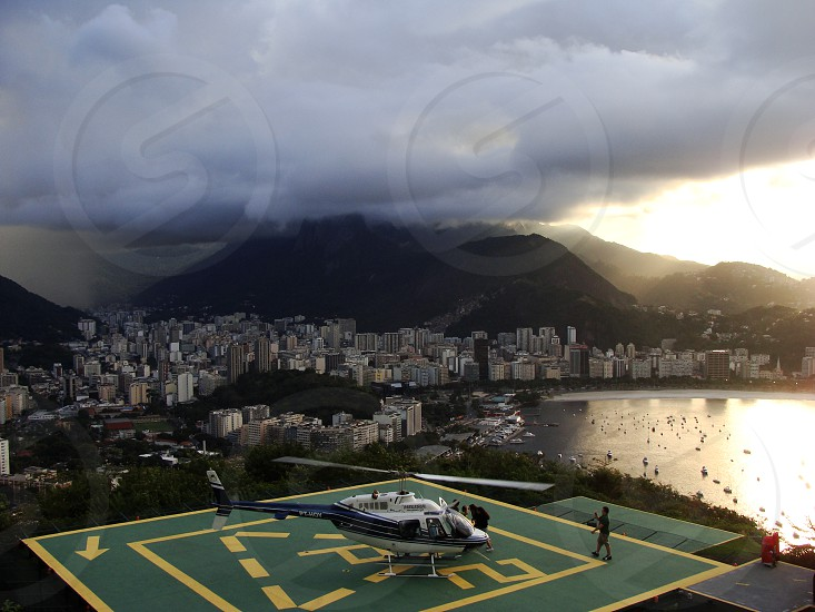Helipad on Sugar Loaf Mountain Rio de Janeiro Brazil on a rainy day. photo
