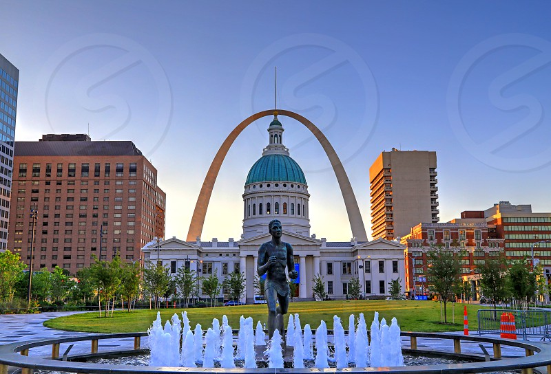 Kiener Plaza and the Gateway Arch in St. Louis Missouri. photo