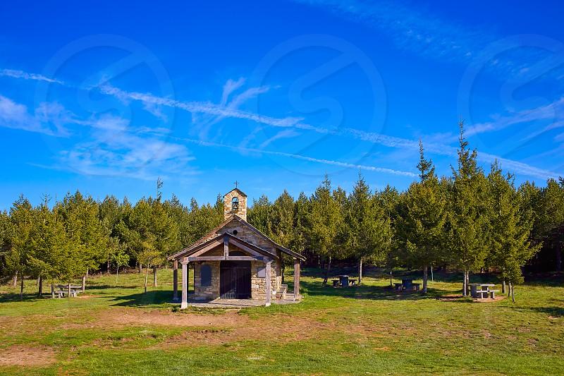 Cruz de Ferro church at Saint James Way Leon Spain photo