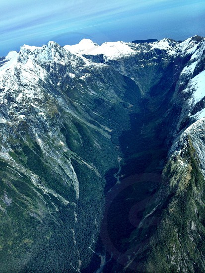 Milford Sound from the air NZ photo