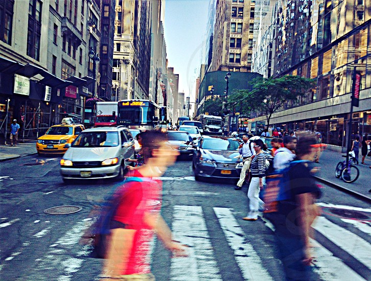 pedestrians crossing street photo