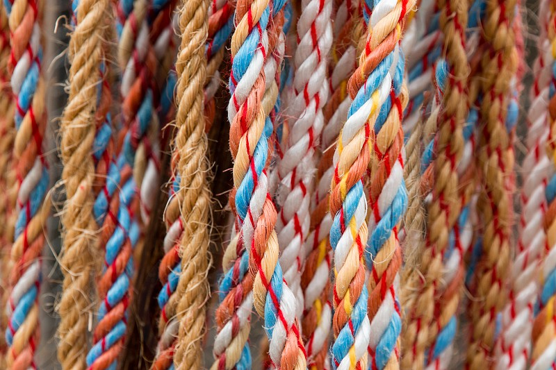 Colorful braided ropes photo