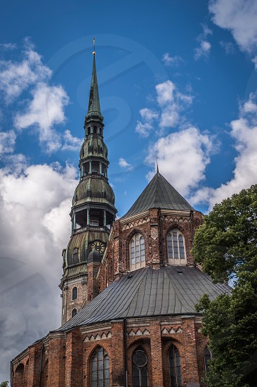 Church of St. Peter in Riga Latvia in a summer day. Detail photo