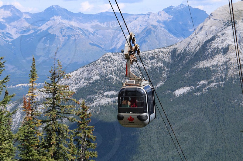 grey and black canadian cable car on diagonal cable over green trees on mountainside photo