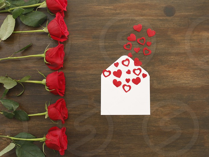 Valentines love hearts red letter roses Happy  photo