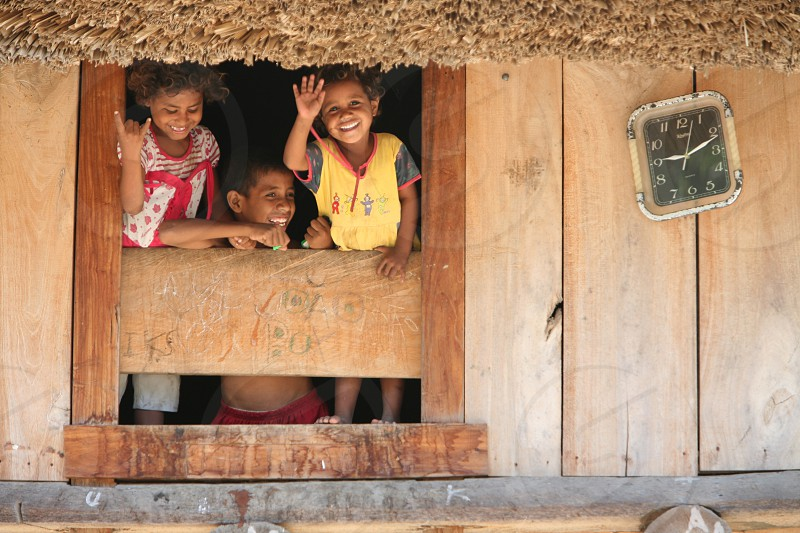 childen in a vilage near the city of Dili in the south of East Timor in southeastasia. photo