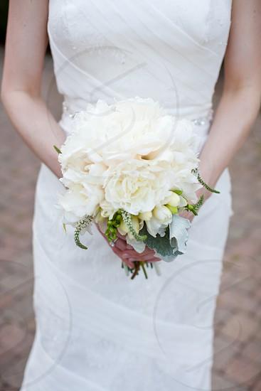 Bride bouquet white flowers wedding. photo