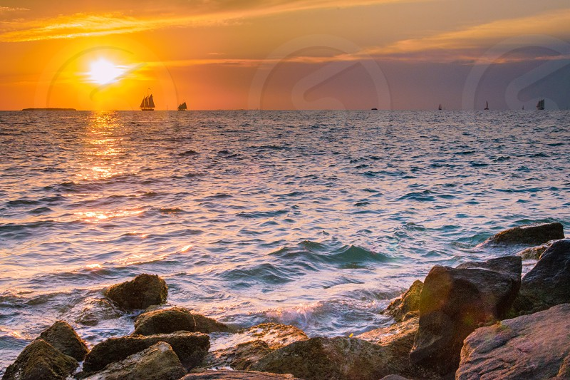 May 2017 sunset from Fort Zachary Taylor State Park in Key West. photo
