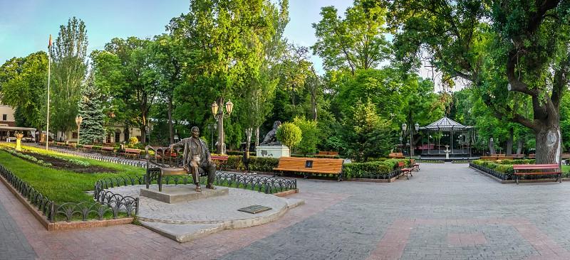ODESSA UKRAINE - 05.19.2018. Panoramic view in the Odessa City garden Ukraine on a sunny spring morning photo