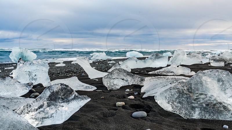 Diamond beach in South Iceland photo