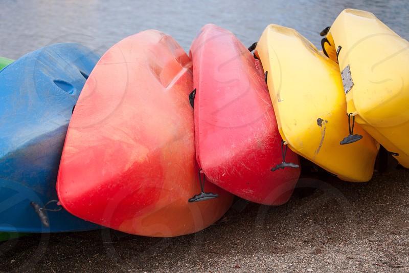 A rainbow of canoes  photo