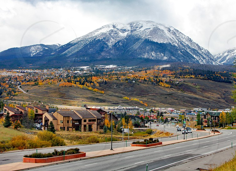 The town of Silverthorne Colorado in Summit County sits below Buffalo Mountain. photo