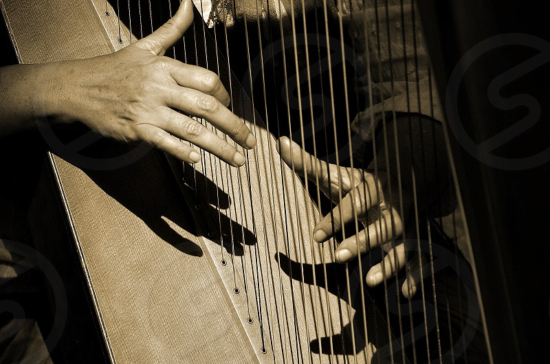Hands and shadows playing the harp. photo