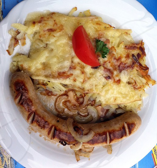 brown sausage with lasagna photo