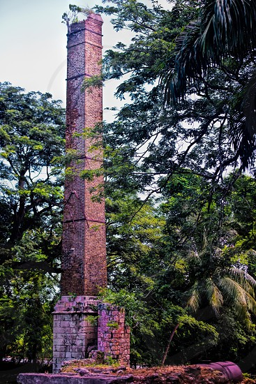 Chimney which was once a part of sugar cane operation in Jamaica.  photo