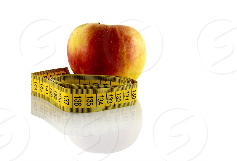 apple measured the meter on a white background photo