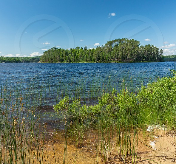 View of an Island on French Lake from a sandy beach portage entry point at the Chippewa campground in Quetico Provincial Park Atikokan Ontario Canada photo