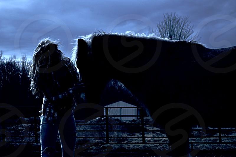 Night portrait moonlight horse silhouette woman cowgirl farm animals pony cowboy moon light night together companion companionship photo
