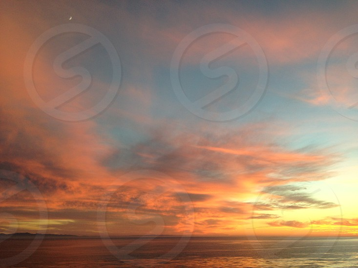 Santa Cruz island at sunset from the Santa Barbara lighthouse photo