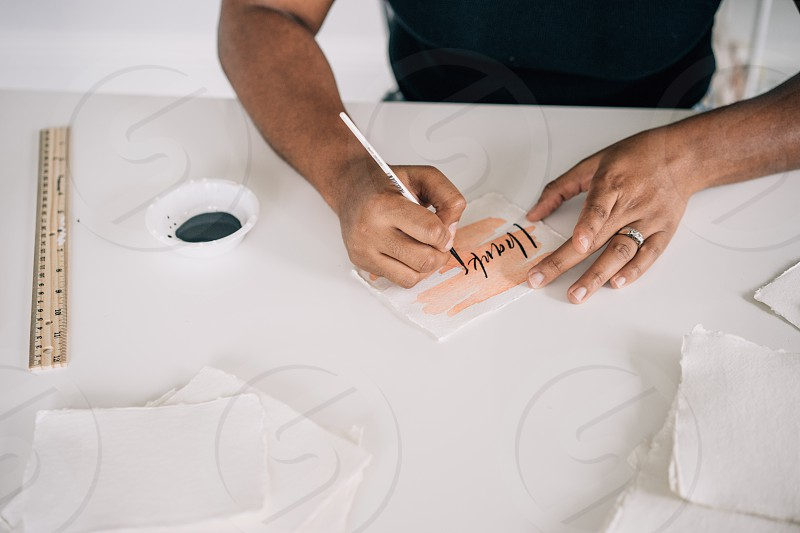 Calligraphy artist lifestyle photoshoot creative photo