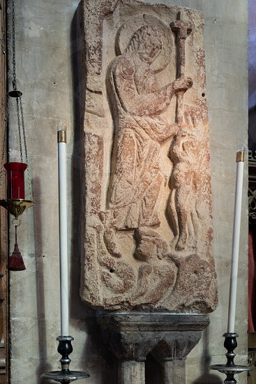 BRISTOL UK - MAY 14 : Harrowing of Hell Anglo-Saxon stonework in the Cathedral in Bristol on May 14 2019 photo