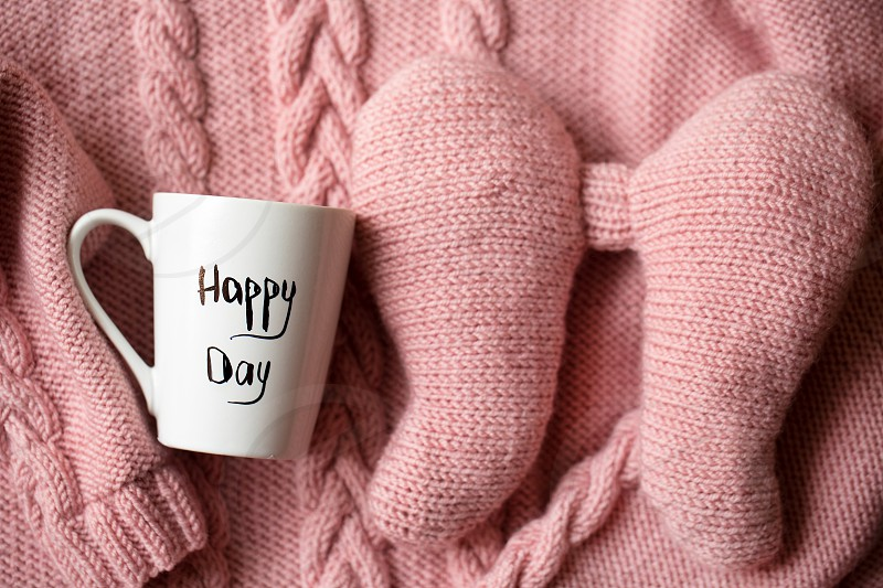Happy day coffee tea morning warm joy happy pink sweater  photo