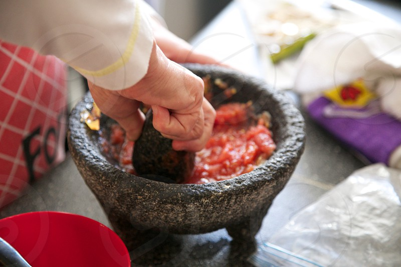 molcajete mexican food kitchen cooking salsa photo