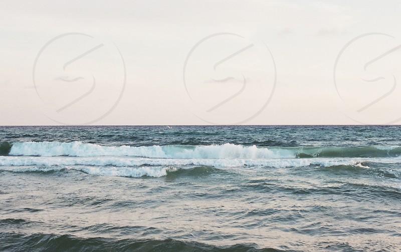 waves horizon on the ocean photo