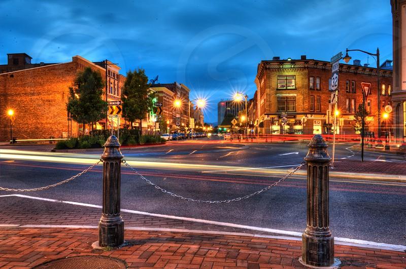 Downtown Glens Falls NY at night. photo