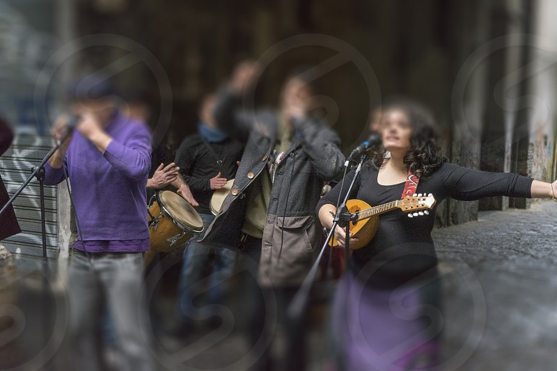 some musicians in the street photo