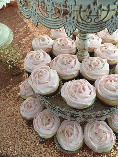 pink icing on cupcakes photo