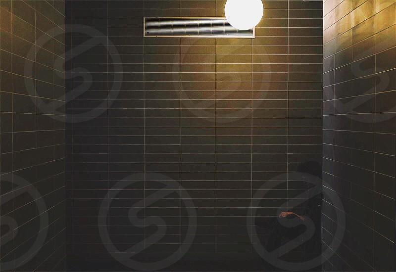 black rectangular shaped wall tiles photo