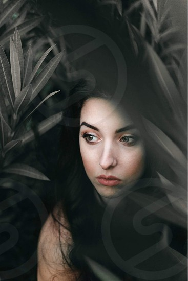 shallow focus photography of woman with black hair photo