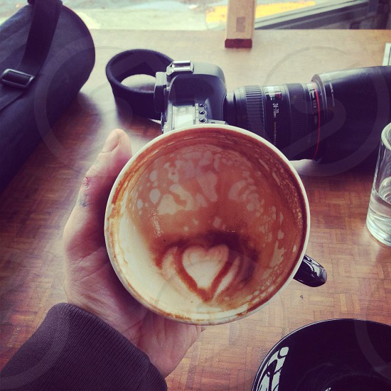 cappuccino heart shaped in mug photo