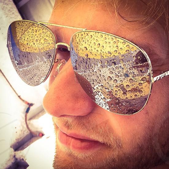 men's silver rimmed sunglasses photo