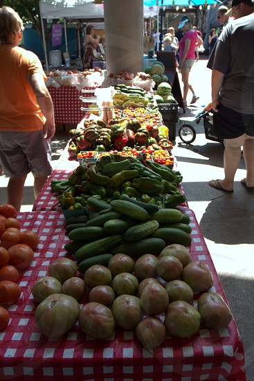 Table full of vegetables at farmers market photo