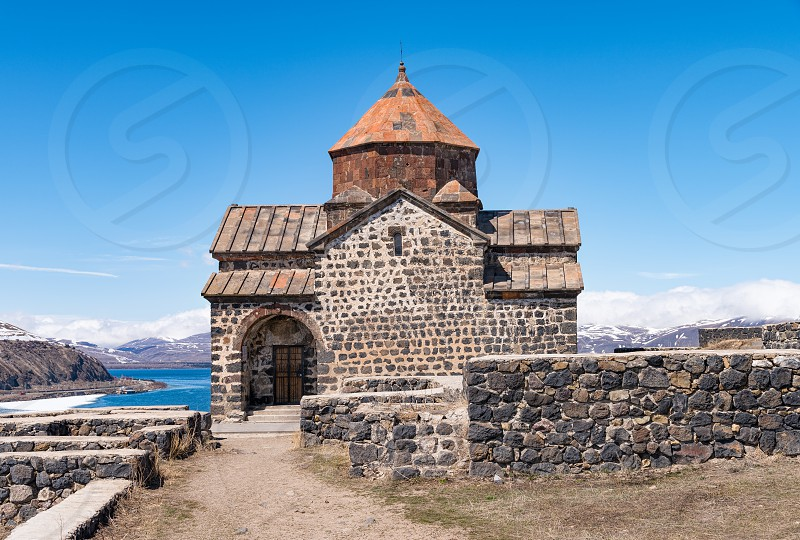 Sevanavank Monastery above lake Sevan on top a hill on a peninsula in a Gegharkunik region Armenia. photo
