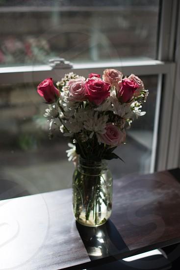 Roses bouquet window sunny sunlight shadows decoration valentine party shabby chic elegant mason jar rustic photo