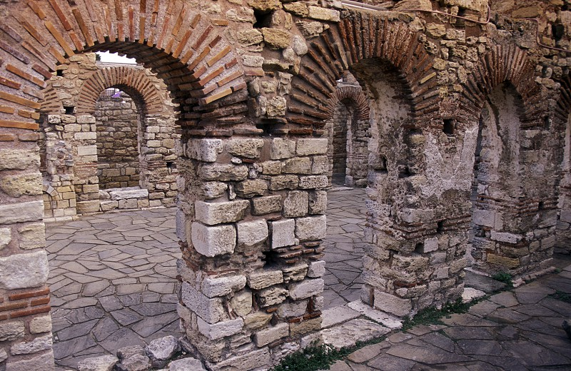 the ruin of the Basilica in the old town of  Nesebar on the coast of the Black sea in Bulgaria in east Europe. photo