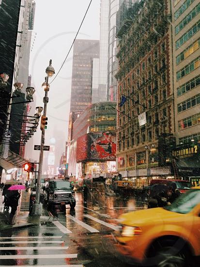 Times Square snowflakes photo