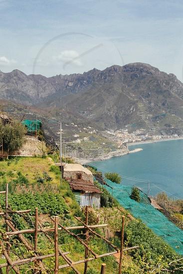View over farms Amalfi coast Italy photo