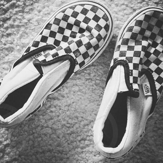 Checkered Vans B/W photo