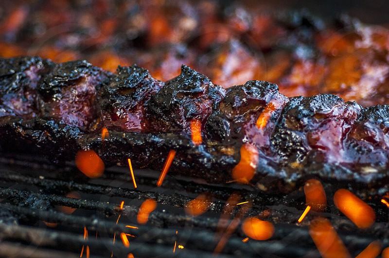 Ribs on the BBQ ribs dry rub bbq sauce mesquite sparks photo