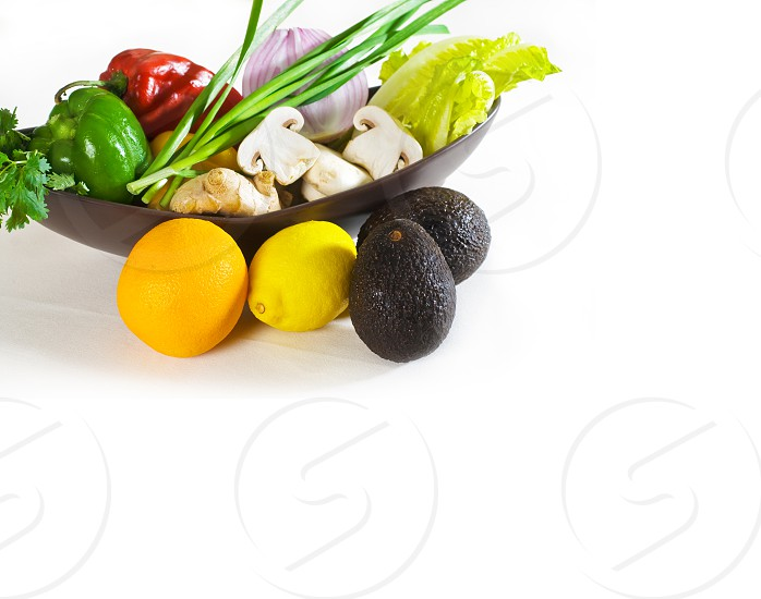 assorted fresh vegetables and fruits base for a healty diet and nutruition photo
