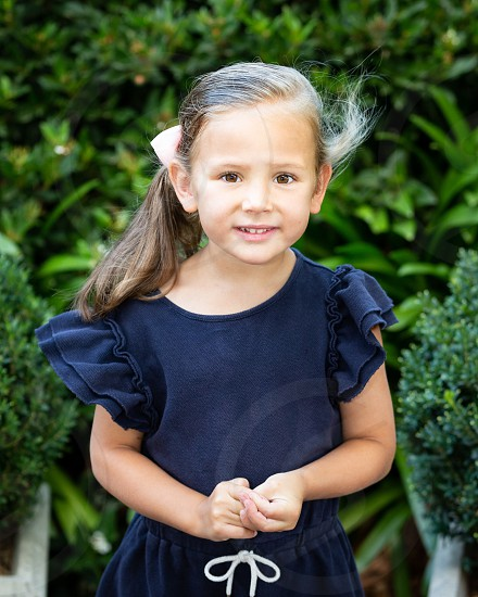 Girl pretty daughter young smile dress blue dress cute photo