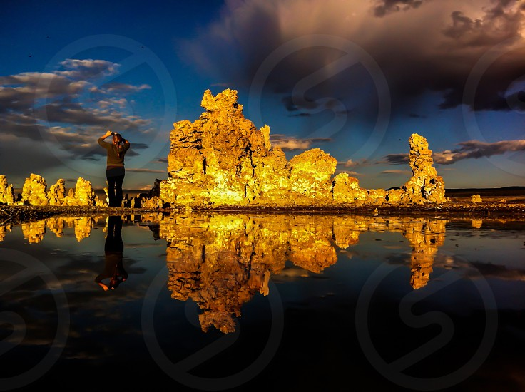A mobile photographer in action during a sunset at Mono Lake CA.  photo