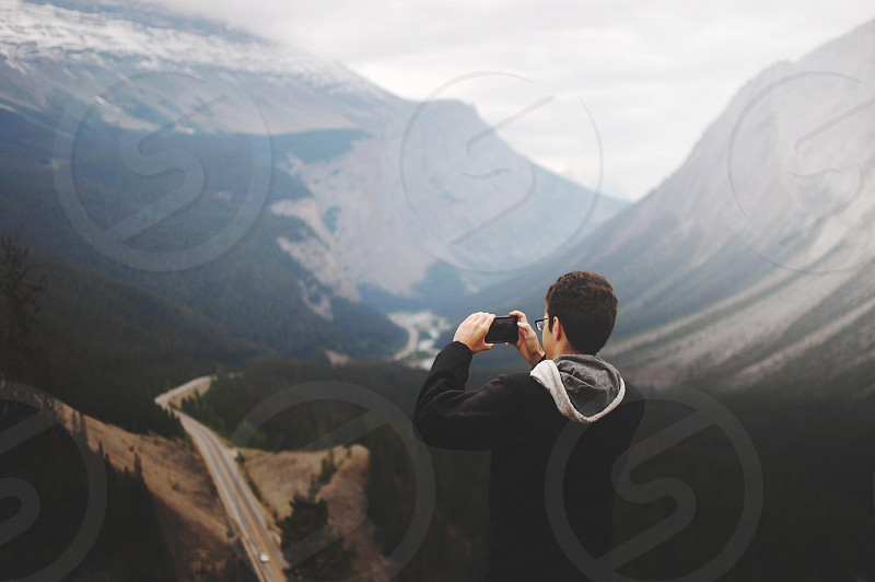 Taking a photo of the Icefields Parkway in Jasper National Park Alberta CA photo