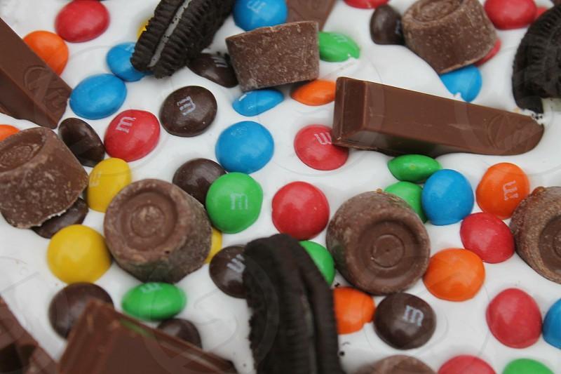 close-up photo of M&M's cake photo